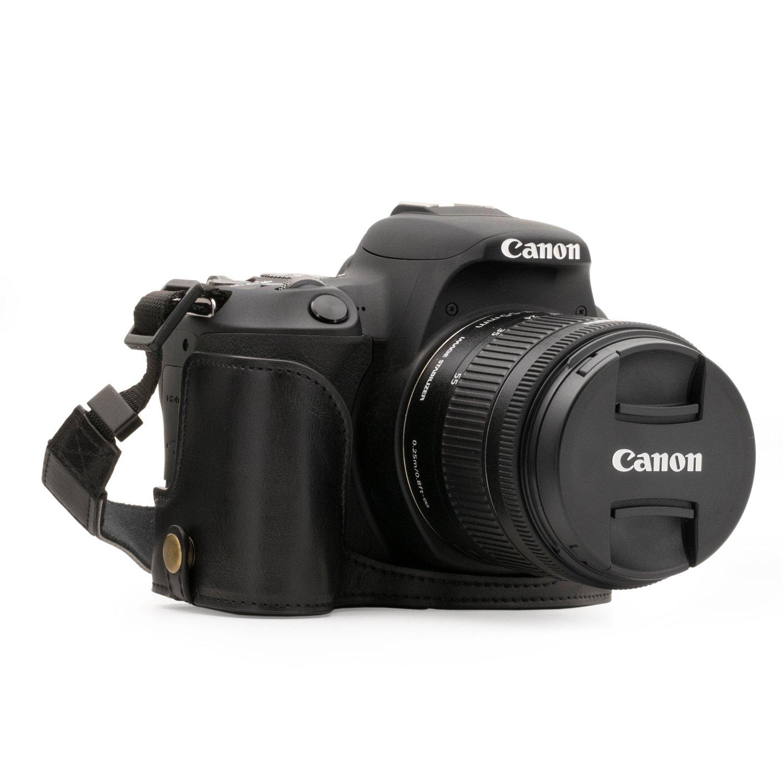 MegaGear Canon EOS Kiss X10, Kiss X9 Ever Ready(エヴァーレディー) レザー カメラ ケース&ストラップ バッテリーアクセス可能  ブラック B074XXNB1T