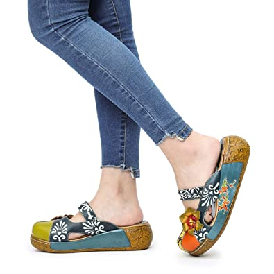 c8161d7e38664 Women s Leather Slipper Ladies Summer Slip on Flat Sandals Vintage Colorful  Flower Backless Loafer Shoe Blue