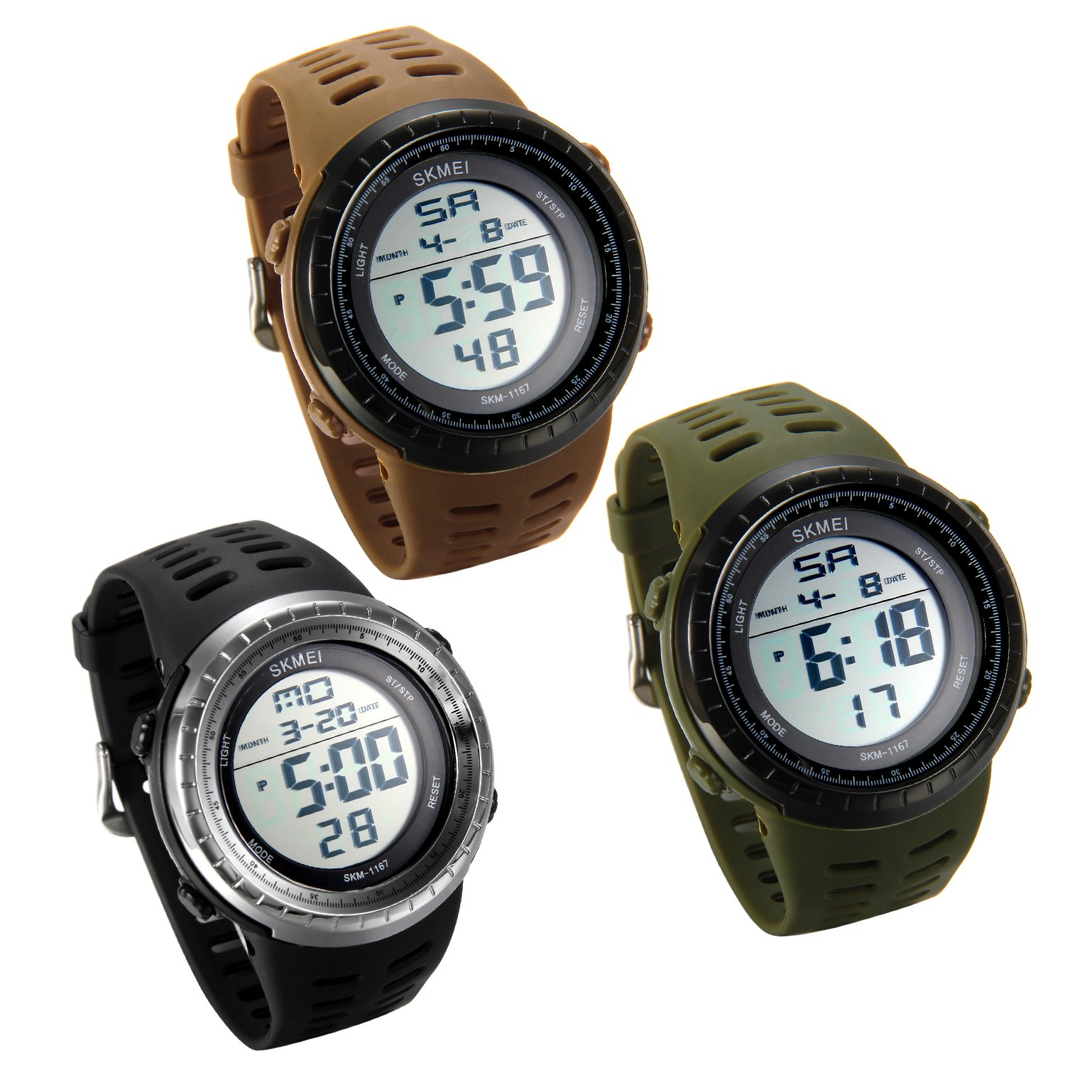 Lancardo 50M Water Resistant Men s Army Military Big Face Multi-Function Digital Watch