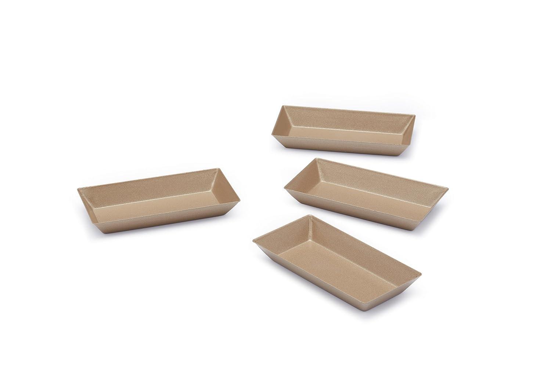 Paul Hollywood Bei Küchen Handwerke antihaftMini rechteckige Backformen, 8,5x 4,5 cm, 4 Stück Set, Stahl, champagnerfarben, 6.8 cm 5x 4 4 Stück Set KitchenCraft PHMINILOAF