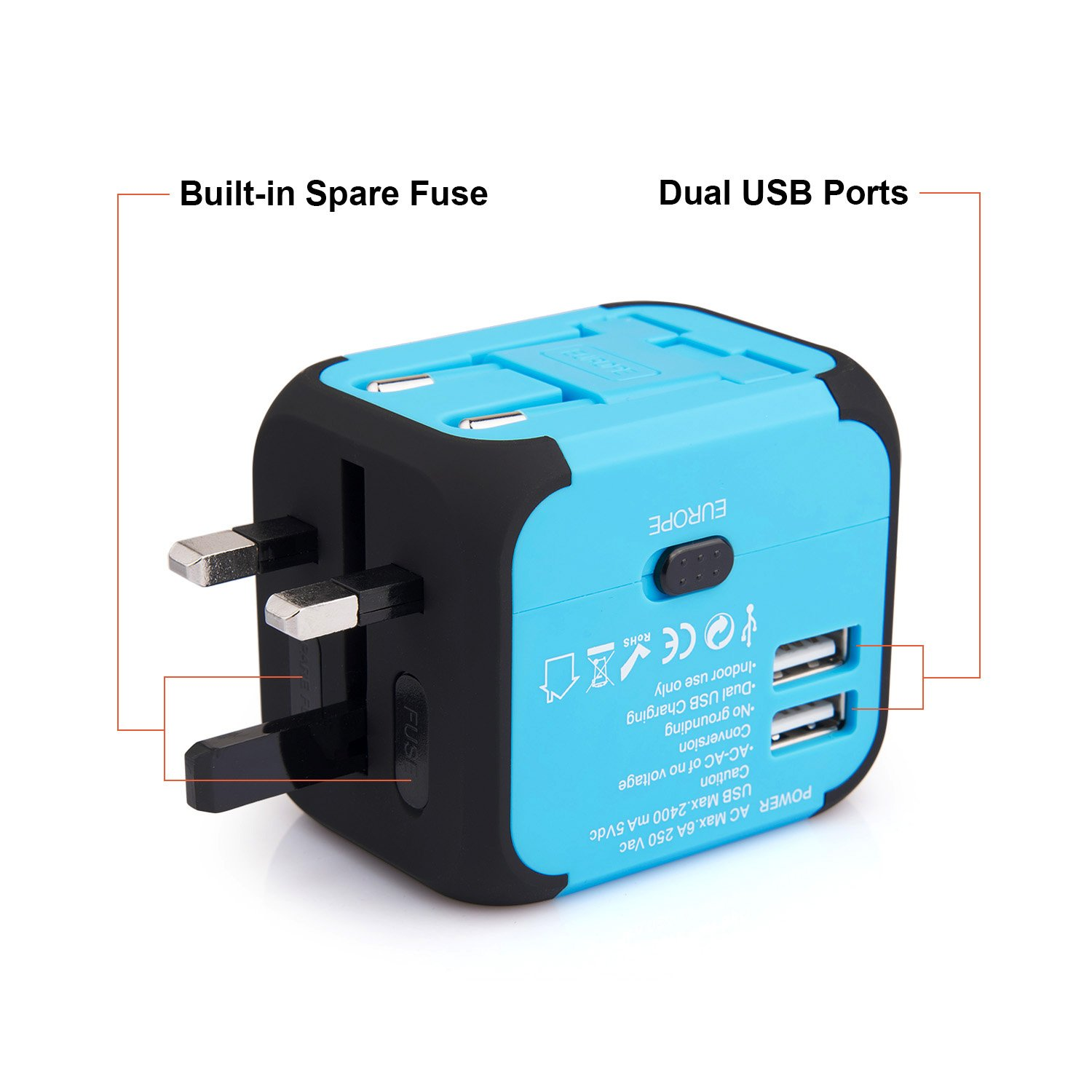 DooVii International Travel Adapter with 2.4A Dual USB Charger /& Worldwide AC Wall Outlet Plugs for Europe US /& AU Built-in Spare Fuse,Blue,by DooVii UC02 UK