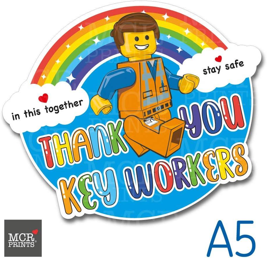 Shop /& Home Window Car PVC sticker MCR Prints Thank You Key Workers Rainbow Sticker