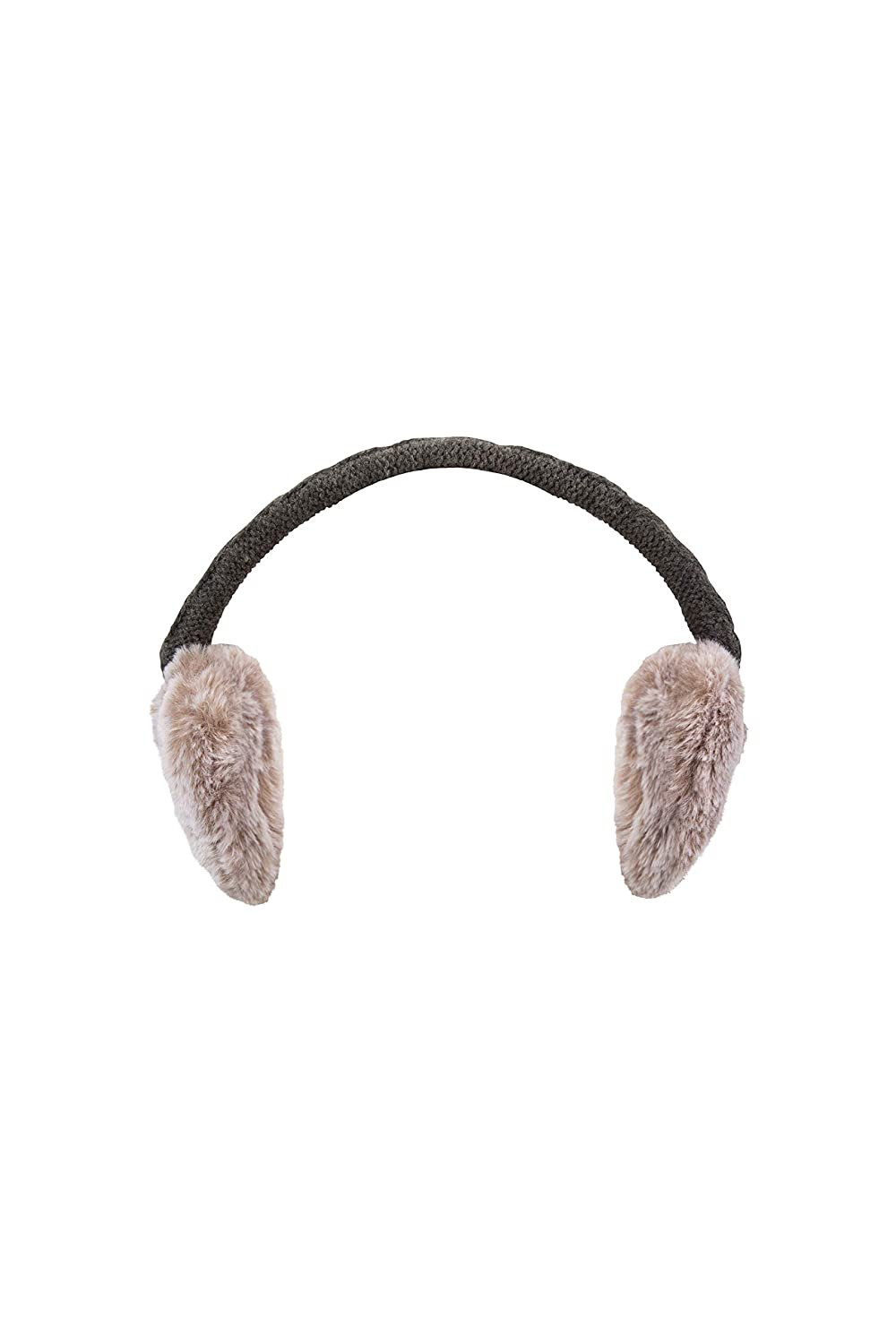 Mountain Warehouse Faux Fur Foldable Earmuffs - Compact, Comfortable & Warm Fluffy Ear Pads Easy to Carry, Adjustable & Foldable Headband - Great Winter Accessory Grey