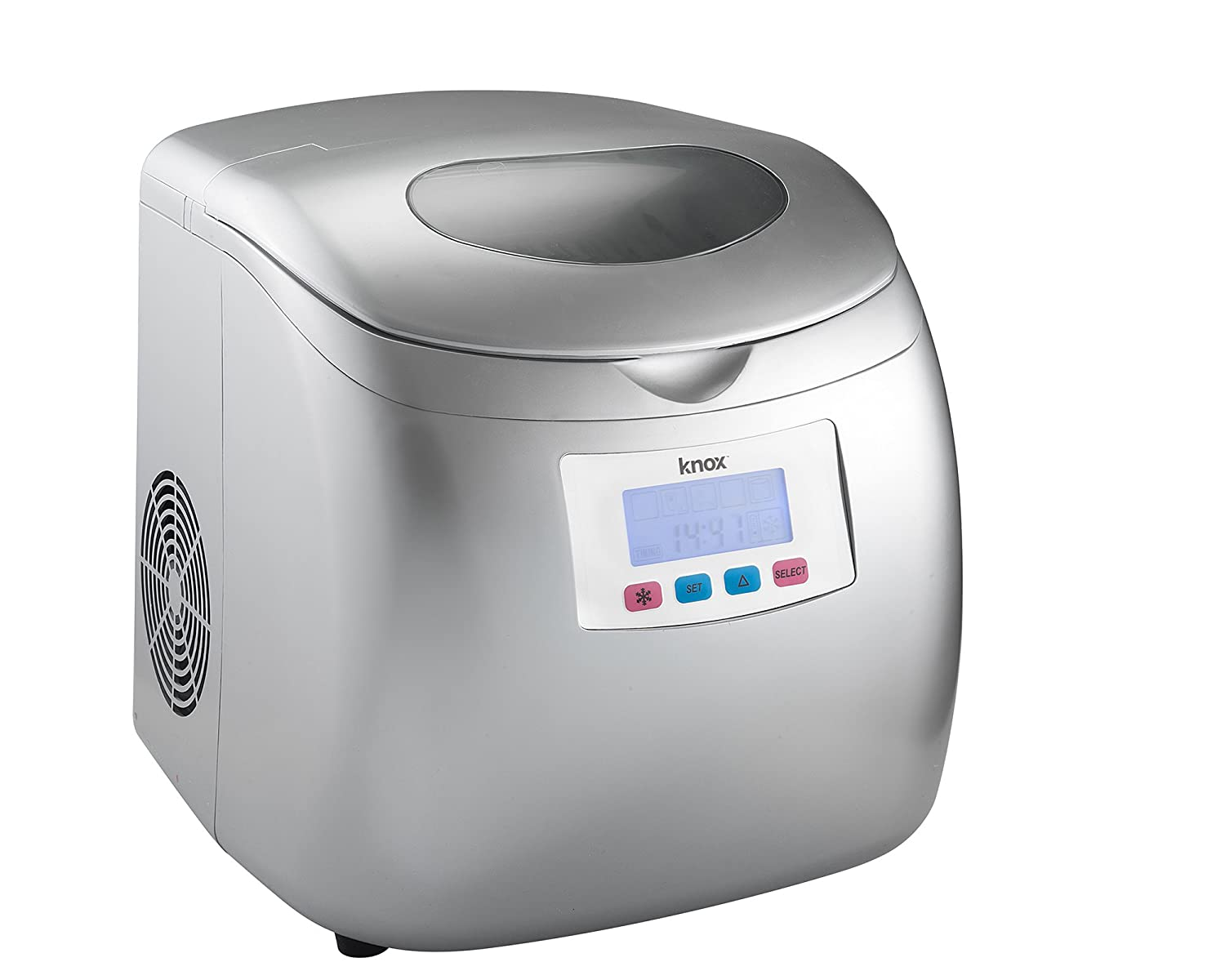 Knox Gear Portable Compact Ice Maker w/LCD Display (Silver) - 2.8-Liter Water Reservoir, 3 Selectable Cube Sizes - Yield of up to 26.5 Pounds of Ice Daily KN-IM27S