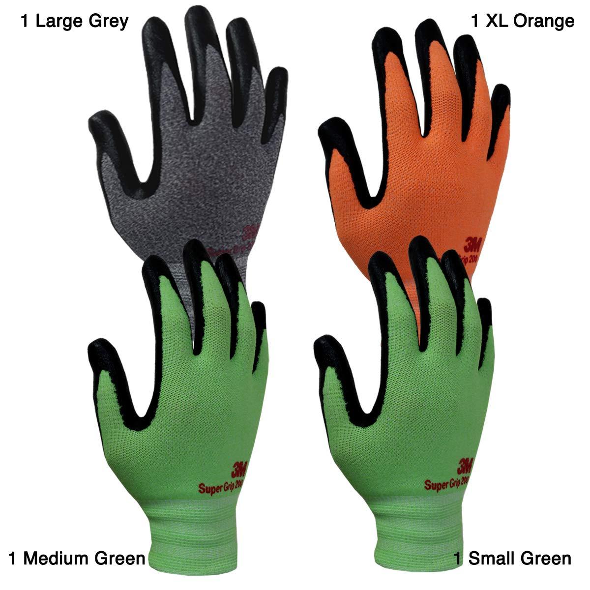 Medium, Orange 5pk 3M Comfortable Grip Nitrile Foam Coated Gardening Work Gloves