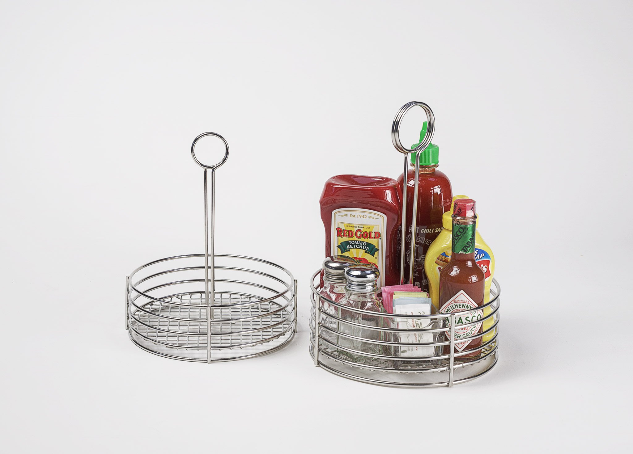 G.E.T. Enterprises 4-81866 Round Stainless Steel Condiment Caddy, Durable Stainless Steel Construction, Silver by G.E.T. Enterprises