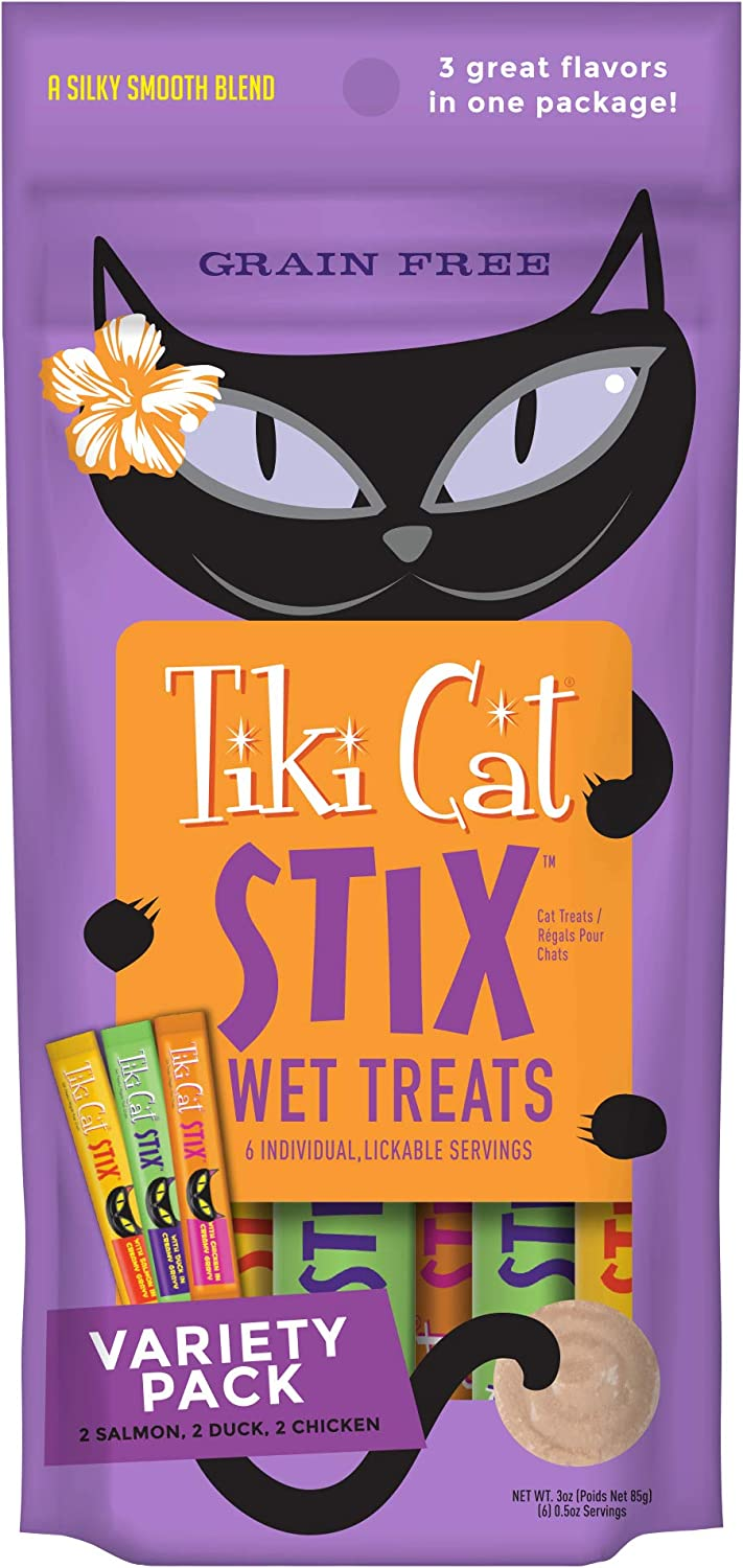 TIKI PETS Cat Stix Wet Treats Topper, Grain Free Lickable Smooth Blend in Creamy Gravy, Variety Pack 6 Stix 1 Pouch