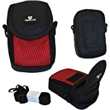 Case4Life Red/Black Nylon Soft Shockpoof Splashproof Digital Camera Case Bag for Olympus Smart VG, TG, VR, VH Series inc VG-120, VG-130, VG-180, VR-310, VR-320, VR-370, VG-160, VG-170, VH-410, VR-340, Tough TG-230, TG-320 - Lifetime Warranty