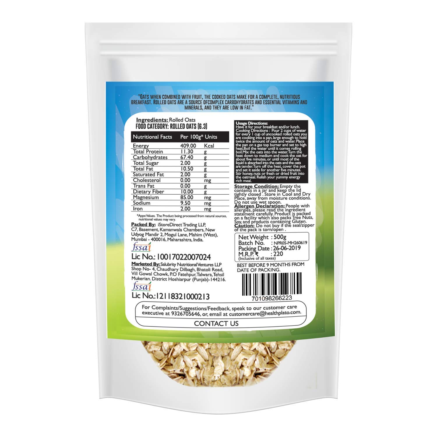 Nutriplato-enriching lives Rolled Oats, 500 g: Amazon in: Grocery