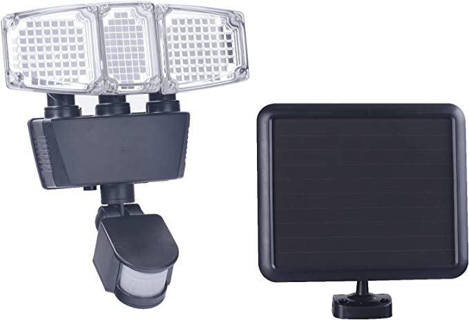 TWO PACK Sunforce 180 LED Triple Head Solar Motion Activated 1300 Lm Flood Light