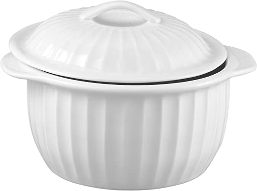 Amazon Com Hic 64 Ounce Lidded Round Casserole Dish White