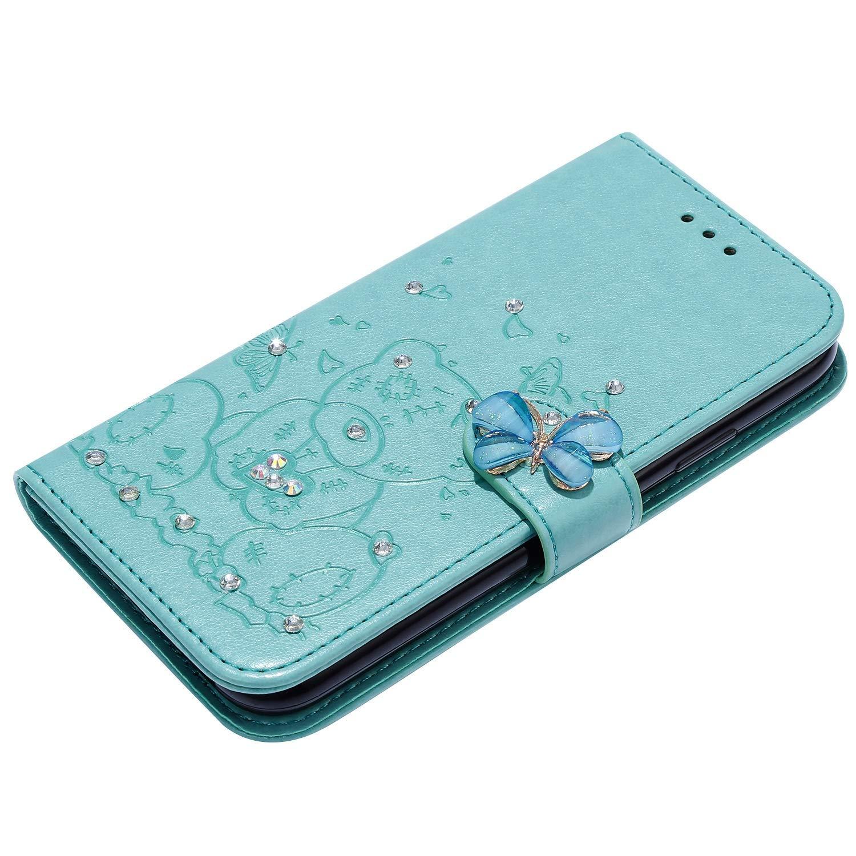 3D Glitter Bling Strass Diamante Orso Disegni Pelle PU Cuoio Flip Portafoglio a Libro Protettiva Cover con Funzione di Appoggio,Verde QPOLLY Cover Brillantini Compatibile con Samsung Galaxy S8