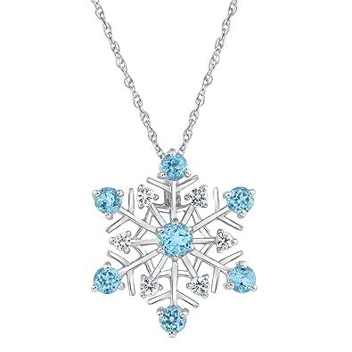 6a432e5c9b2705 Amazon.com: Swiss Blue Topaz and White Sapphire Snowflake Pendant: Pendant  Necklaces: Jewelry