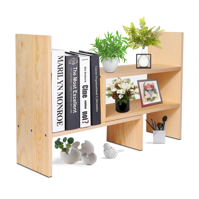 Flexzion Natural Wooden Desktop Shelf Wood Caddy Desk Organizer Set Office  Storage Adjustable Expandable Tabletop Accessory