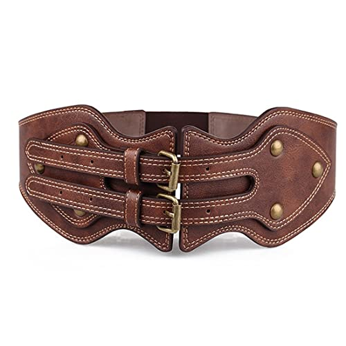 Mujeres Moda Vendimia Marrón Cuero Pu Cintura Elástica Cinturón Hebillas