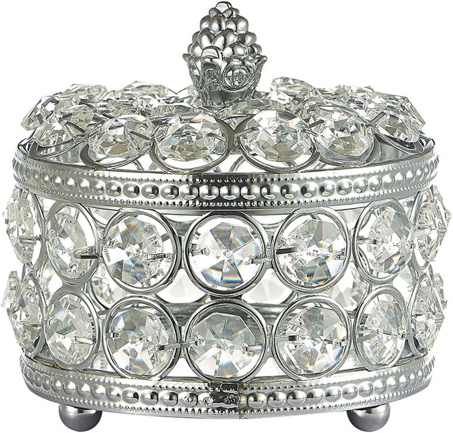 MERIGLARE Caja de Almacenamiento de Joyas Retro de Cristal Pequeño Plateado Collar Pendientes Estuche de Cosméticos - tal como se describe, 10x10cm