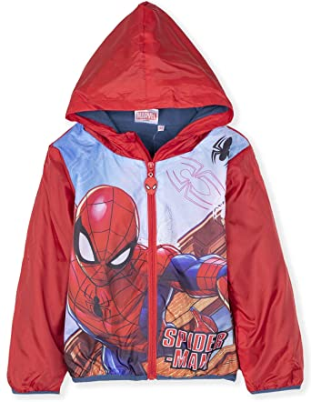 Marvel Boys Spiderman Lightweight Hooded Jacket with Bag Size 3-8 Years