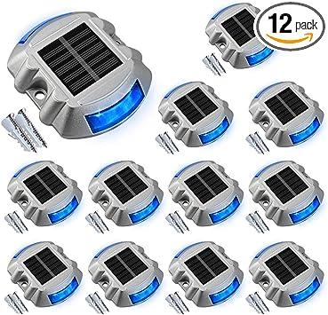 Solar Deck Lights Driveway Lights Solar Deck Light Led 12 Pack for Sidewalk Blue