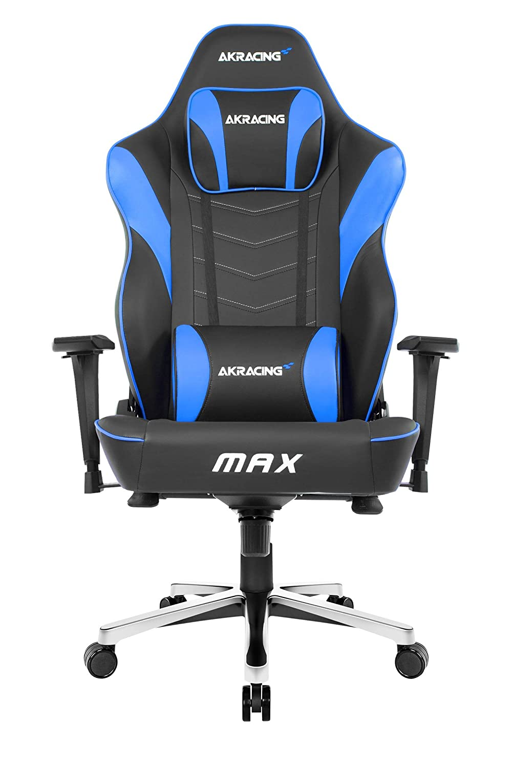 AKRacing Masters Series Max Gaming Chair with Wide Flat Seat, 400 Lbs Weight Limit, Rocker and Seat Height Adjustment Mechanisms with 5/10 Warranty, Blue - PC; Mac; Linux