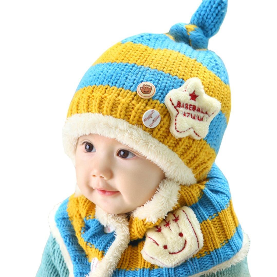 DDLBiz/® 1pcs cappello da sci unisex bambino neonato cute del bambino inverno caldo sciarpa in pile con cappuccio berretto earflap maglia giallo