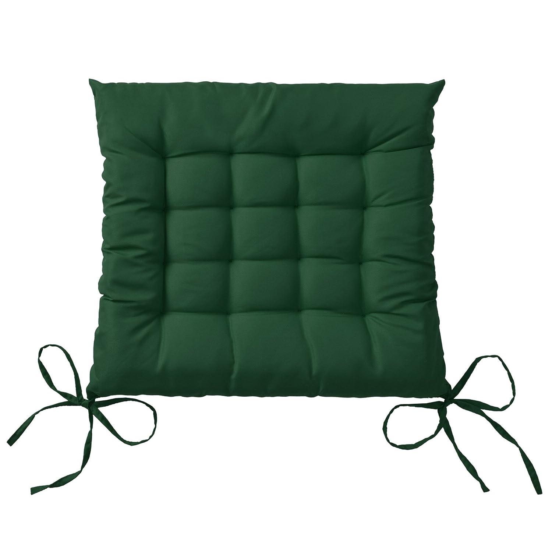 Beautissu Set 4 Lea - comodísimos Cojines para sillas - Vivienda o terraza - 40 x 40 x 5 cm - Verde Oscuro
