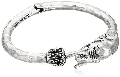 73e941e0f00 Amazon.com: Lucky Brand Silver Elephant Cuff Bracelet, 2.38