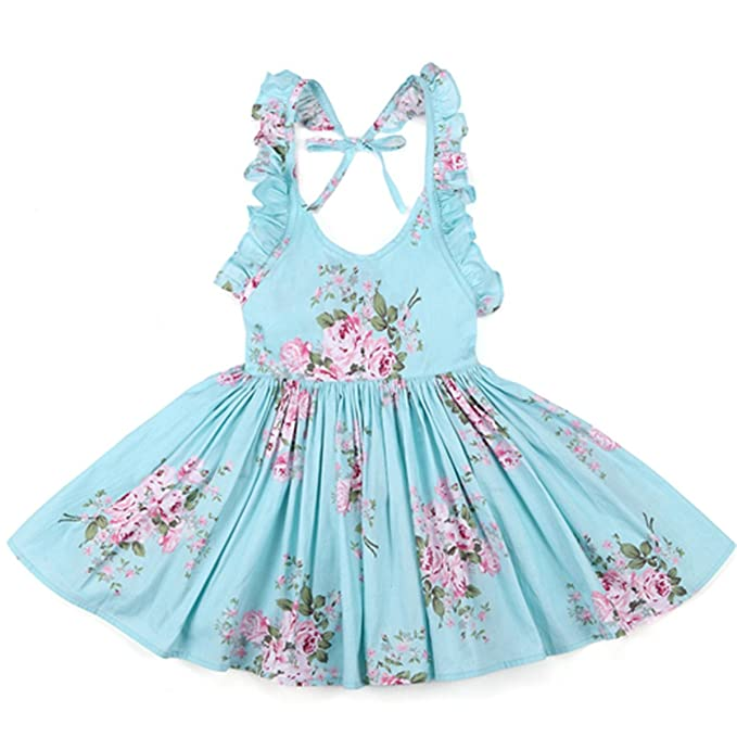Chiced Baby Girls Dress Brand Summer Beach Style Floral Print Party Backless Dresses for Girls Vintage