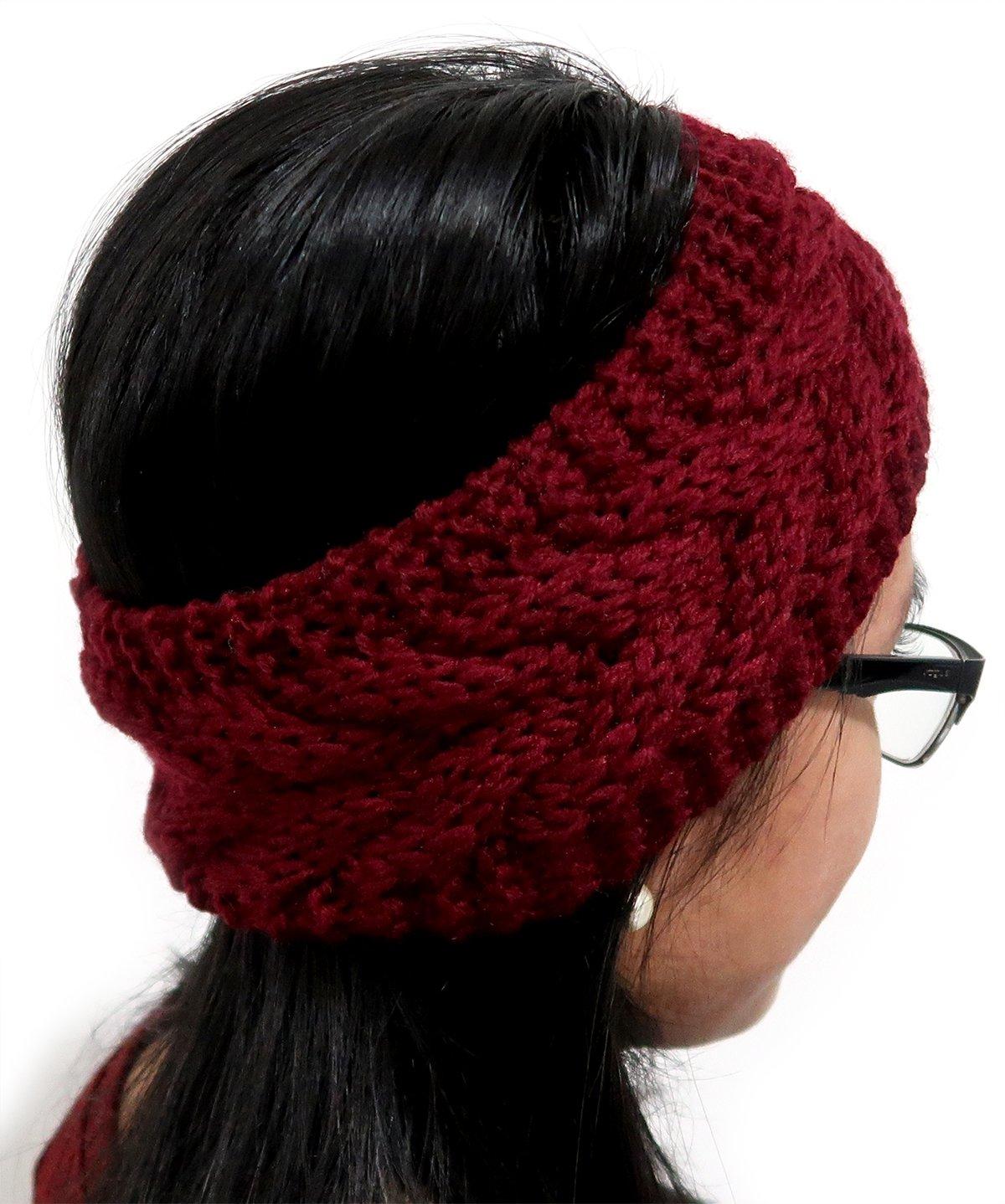 Wine Red Burgundy Women's 2018 Fashion Knit Crochet Twist Headband Ear Warmer Maroon Hair Band Turban Wrap