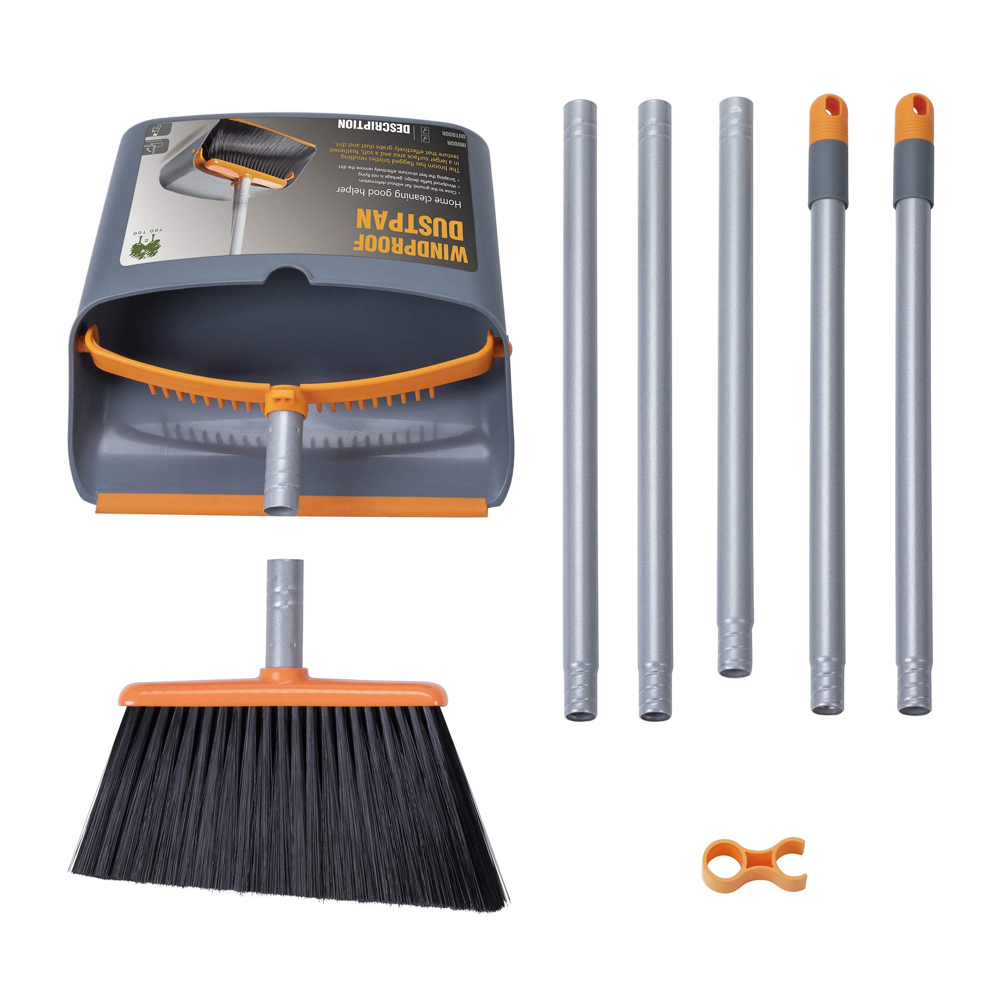 TooToo Broom and Dustpan Set, Sweep Set, Upright Broom and Dustpan Combo with 40''/54'' Long Extendable Handle for Household Cleaning Sweeping, Orange and Dark Grey by TooToo (Image #7)
