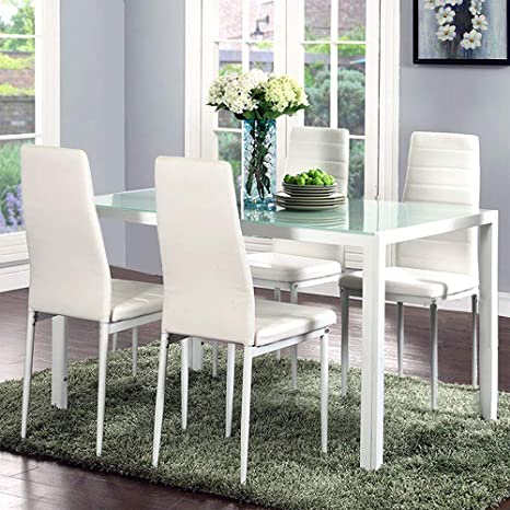 Tremendous Joybase 5 Piece Dining Table Set Tempered Glass Top Table With 4 Leather Chairs Kitchen Dining Room Furniture White Pdpeps Interior Chair Design Pdpepsorg