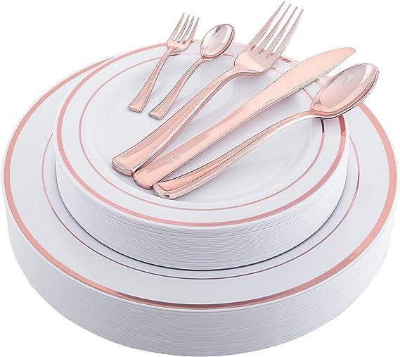 NERVURE 175PCS Rose Gold Plastic Silverware & Plastic Plates, Service for 25 disposable Place Setting: 25 Dinner Plates,25 Dessert plates 25 Forks,25 Knives, 25 Spoons. 25 Mini Forks,25 Mini Spoons.