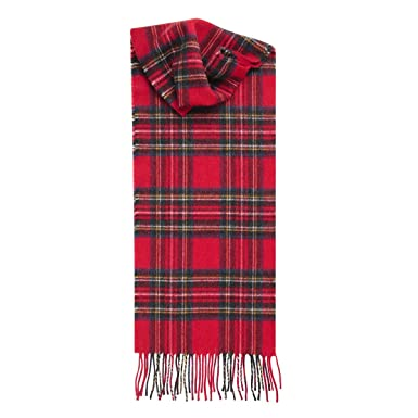 72dbd52a09b Stewart Royal Red Plaid Cashmere Scarf Made in Scotland at Amazon ...