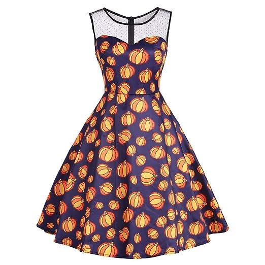 Women Halloween Dresses,Lady Sleeveless O-Neck Pumpkin Vintage Halloween Evening Prom Dress Party