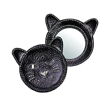 amazon com winking kitty leather compact mirror black health