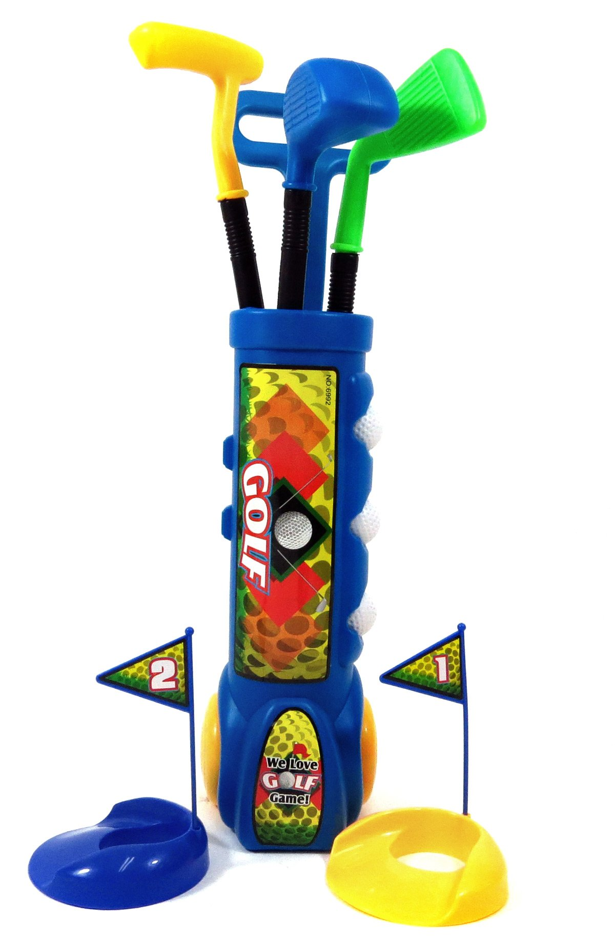 PowerTRC Deluxe Kid's Toy Golf Set w/ 3 Golf Balls, 3 Types of Clubs, 2 Practice Holes, Perfect Golf Set for Children (Blue) by PowerTRC