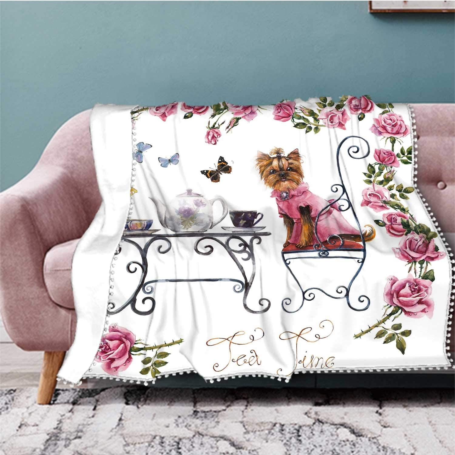 Hitecera Yorkshire Terrier.Tea Table in The Garden.Two Cup of Tea.Frame from Roses.Invitation to Tea Drinking.Hand Drawn,Blanket Throw Lightweight Super Soft Cozy Luxury Bed Blanket 50''x4