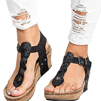 05cddc148bc GOUPSKY Cork Wedge Sandals for Women Platform Ankle Braided T Strap Boho  Rome Gladiator with Vegan Leather Casual Summer Mid Heel Thong Shoes   Amazon.co.uk  ...
