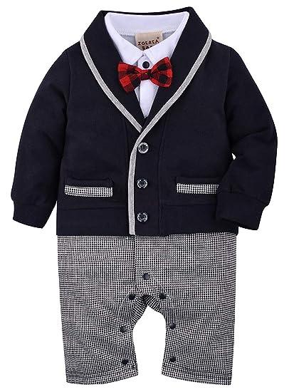 ZOEREA 1pcs bébé Gentleman Romper Costumes Costume de Smoking Noeud Papillon  Le baptême de Mariage 3 54afe174094