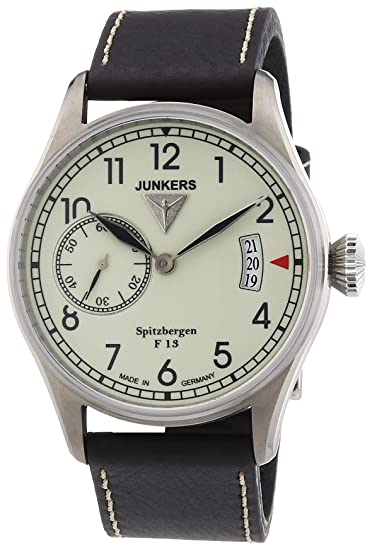 Junkers 61305 - Reloj analógico manual para hombre con correa de piel, color marrón