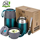2 Pack Vacuum Insulated Food Jar Hot Food Containers for Lunch School Soup Thermos For Kids,Travel Food Flask Hot Cold (24oz,17oz)(Green)