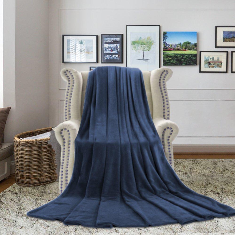 H.VERSAILTEX Blankets Queen Size (90'' x 90'', Navy)- Polar Fleece Extra Soft Brush Fabric Super Warm Bed Blanket Lightweight Couch Blanket for Baby Boy, Machine Washable
