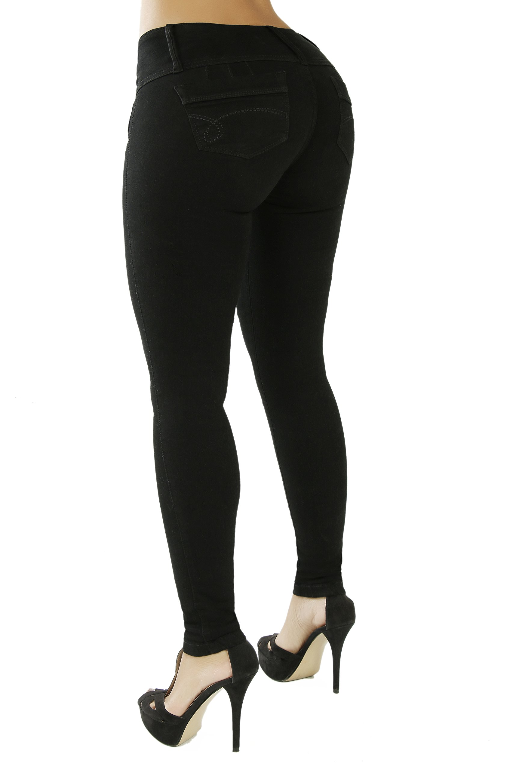 Curvify High Waisted Butt Lifting Slimming Jeans for Women - Skinny Stretch Jean 766(766, Black, 7)