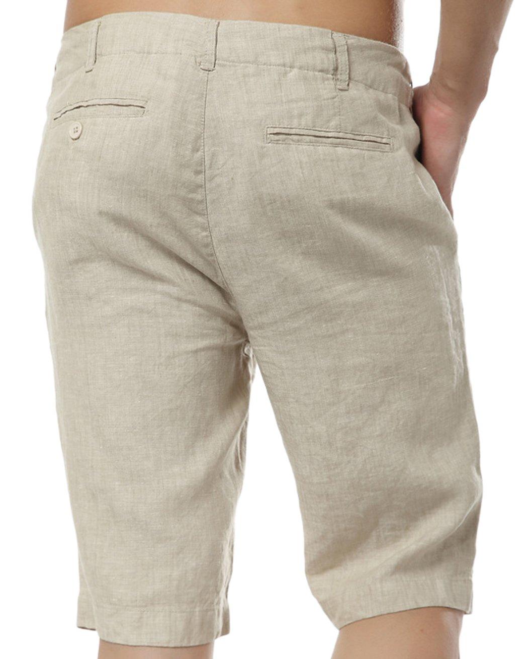 utcoco Men's Summer Straight Fit Flat-Front Linen Shorts (Medium, Khaki) by utcoco (Image #2)