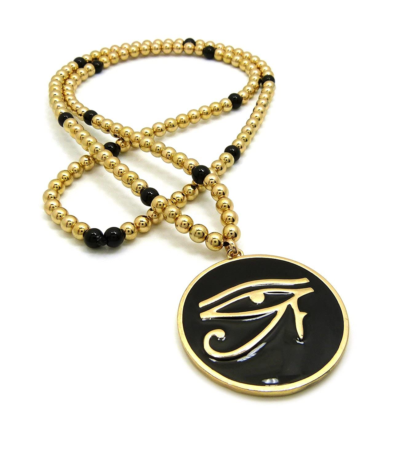Crescendo SJ INC NEW EYE OF HERU PENDANT /& 30 CCB BEAD CHAIN HIP HOP NECKLACES RC2934G