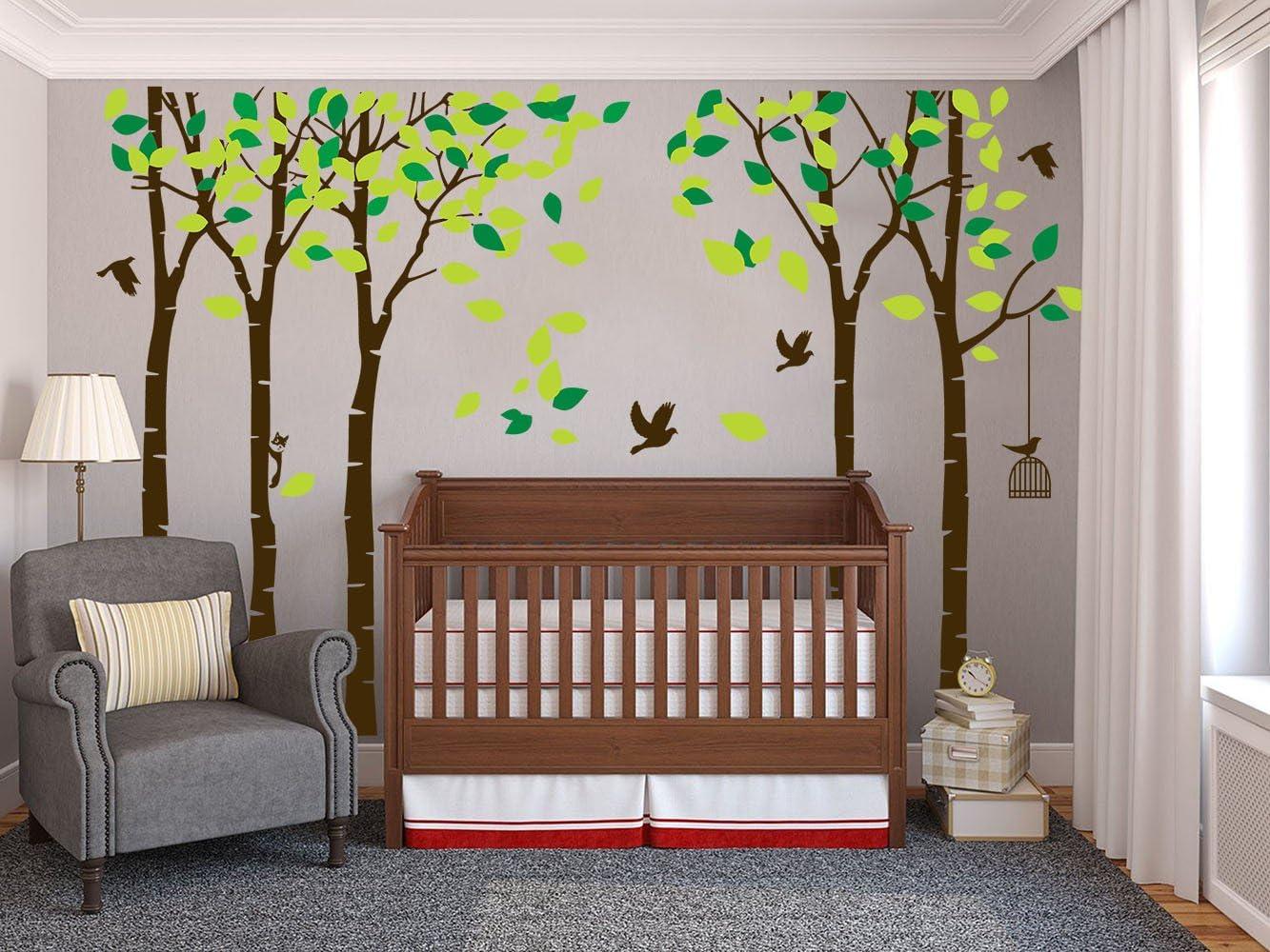 Verde y marr/ón ni/ños y ni/ñas Vinilo extra/íble 104 x 71 Adhesivo Decorativo para Pared de /árbol para Sala de Estar Rocwart decoraci/ón para el hogar