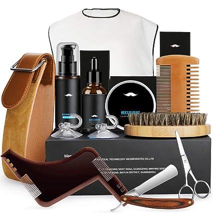 Fixget Kit Barba Cuidado para Hombre Crecimiento, Aceite de Barba & Bálsamo & Cepillo Barba De Cerdas Naturales De Jabalí & Peine Barba & Tijeras ...