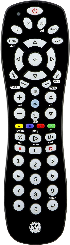 GE Universal Remote Control for, Samsung, Vizio, LG, Sony, Sharp, Roku, Apple TV, RCA, Panasonic, Smart TVs, Streaming Players, Blu-ray, DVD, Simple Setup, 6-Device, Black, 24922