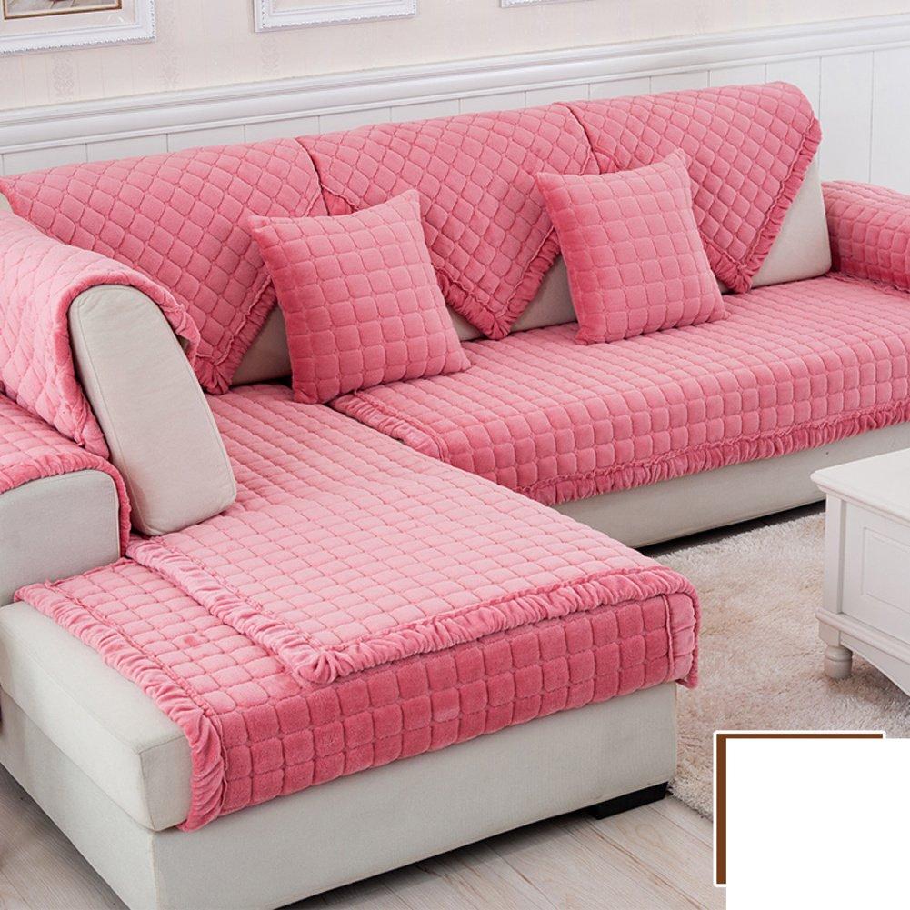 DW&HX winter Thicken Flannel plush Sofa cushions, Cover Anti-skidding Fabric Sofa cover Cushion-M 90x120cm(35x47inch)