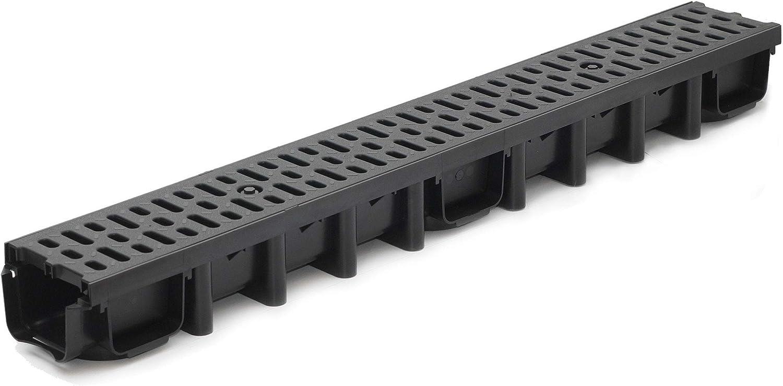 Schwarz Classic 24m Entw/ässerungsrinne f/ür modulares System A15 98mm komplett Stegrost Kunststoff