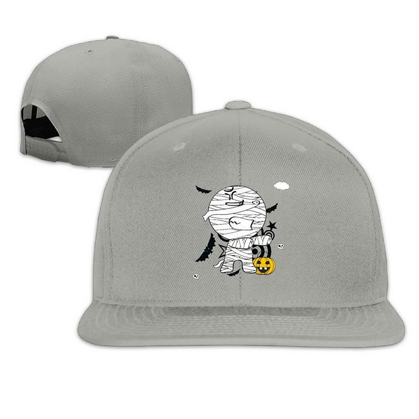 Unoopler Cute Funny Pumpkin Mummy Snapback Hip Hop Flat Bill Baseball Caps for Men Women Ash